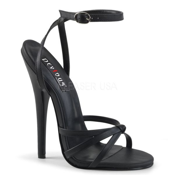 High-Heel Riemchen-Sandalette schwarz Lack DOMINA-108